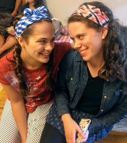 Sisters, sporting festive new scarves